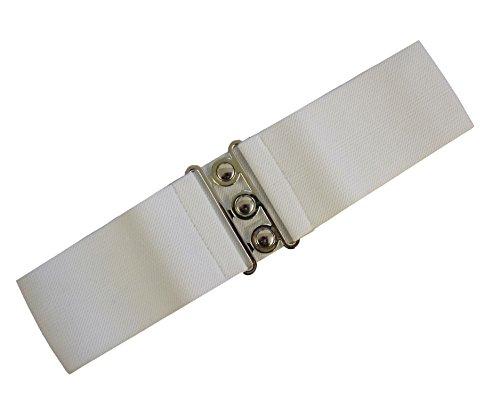 tage Elastischer Weiter Gurt Viele Farben Erhältlich - Weiß (M - 38-40) (70er Jahre Gürtel)