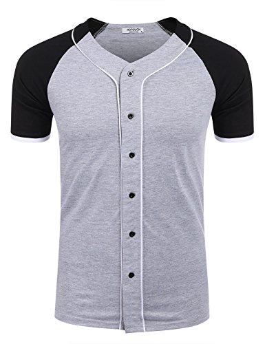 HOTOUCH Herren Baseball Shirt Jersey Shirt Raglan-Ärmel Basic T-Shirt mit Knopfleiste Grau XXL (Kontrast Tee Baseball)