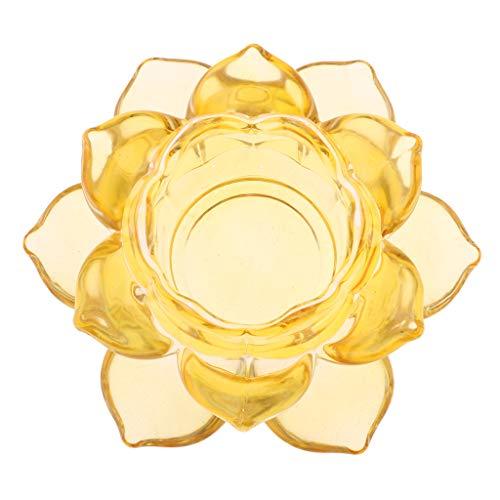 non-brand Homyl Kristall Lotus Kerzenhalter Teelichthalter Kerzen Halter Dekoration - Bernstein - Kerze-halter-wand-dekoration
