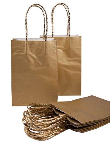 ktüten Geschenktüte Premium Geschenktüte , 20 stück DIKETE Tragetaschen Geschenkbeutel mit Griffen - 14x8x20 cm golden (Halloween-papier-taschen, Handwerk)