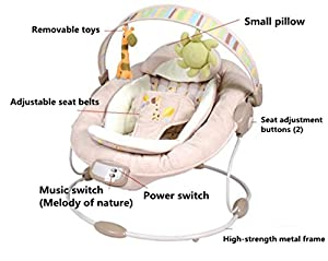 NWYJR Infant Rocker Portable Newborn Suitable Vibration Music Appease Swing Bouncer Baby rocker