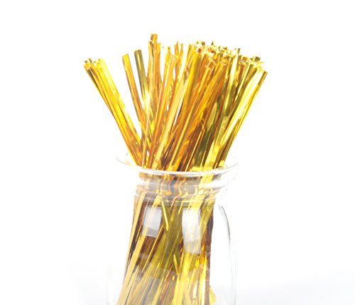 funcoo 1600PCS 10,2cm Metallic Twist Krawatte für Bakery Candy Lollipop Cello Tasche gold