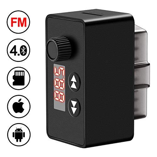 kungfuren OBD2 Diagnosegerät Blutooth 4.0 Adapter mit FM Transmitter Auto Bluetooth für IOS und Android, OBD2 Diagnose Scanner, 16-Pin OBDII-Schnittstelle für Lesen und Löschen Fehlercode