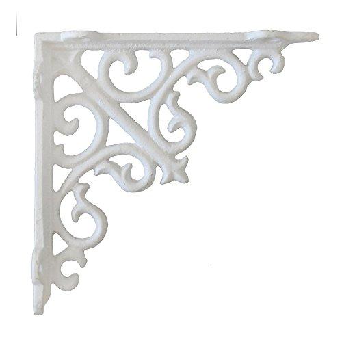 Preisvergleich Produktbild LANDHAUS Winkel LOUSANNE weiß aus Gusseisen Regalhalterung Regalwinkel Eisen