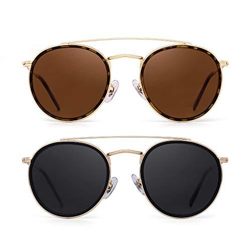 Runden Polarisiert Sonnenbrille Metall Rahmen Flach Kreis Linse Brille Damen Herren 2 Stück(Braun&Grau)
