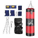 VGEBY1 Sac de Boxe, Sacs Lourds Sac de Frappe Equipement de Conditionnement Physique pour Le Sac sans Sable de Combat de Kick de Crochet de Boxe (80cm-Rouge)