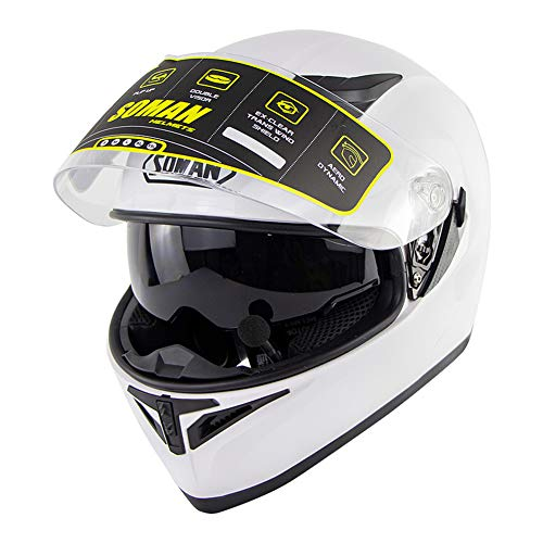 MTSBW Casco Moto, Casco Integrale Moto Samurai Motocross Racing Uomo Donna, Bianco, L