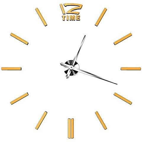 GYN Continental creativo moda 3D acrilico grandi dimensioni specchio DIY Orologio minimalista Sticker Orologio artistico soggiorno camera da letto TV sfondo decorazione , gold - Primo Anno Sticker Calendario