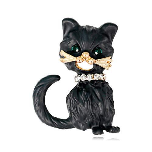 Tonpot Brosche in Katzen-Form, Vintage-Stil, für Damen und Herren, Anzug, Schal, Tasche, Dekoration 3.0 * 2.4 cm Schwarz A