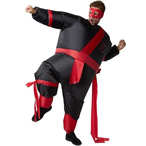 dressforfun 302353 - Aufblasbares Unisex Kostüm Ninja, Anzug mit angenähtem Gürtel und Band, inkl. Maske (Krieger Kostüm Frau)
