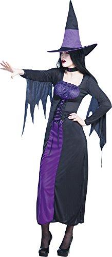 ,Karneval Klamotten' Kostüm Hexe Halloween flieder Kostüm Dame Halloween Damenkostüm Größe ()