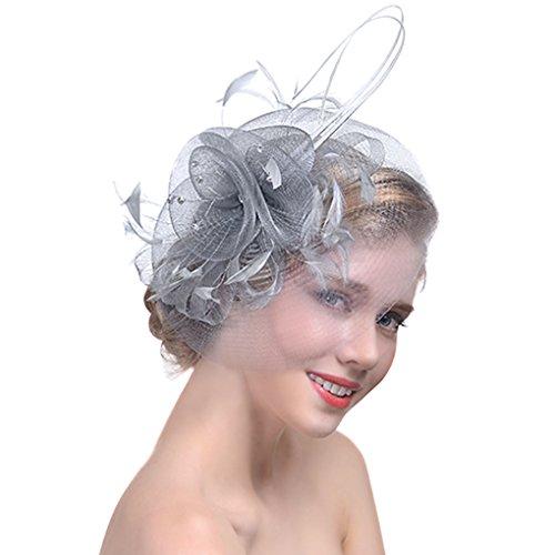 FakeFace Fascinator Hüte mit Feder Blumen Haar Clip Haarreif Haar Accessoire Netz-Mütze Schleier Tea Party Hochzeit Kirche Haarschmuck Kopfschmuck Kopfbedeckung für Frauen,grau - Braut Der Hüte Mutter
