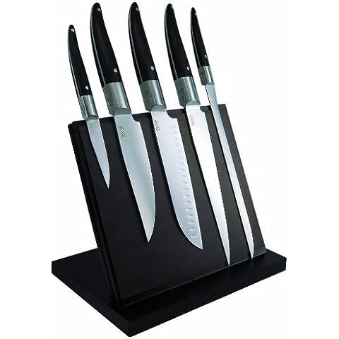 Laguiole Production 443930 Laguiole Expression - Ceppo magnetico con 5 coltelli da cucina grandi