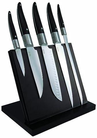 Laguiole Production 443930 Laguiole Expression Bloc Aimanté de 5 Grand Couteaux Cuisine Laguiole Manche (Grande E Capi Di Alto)
