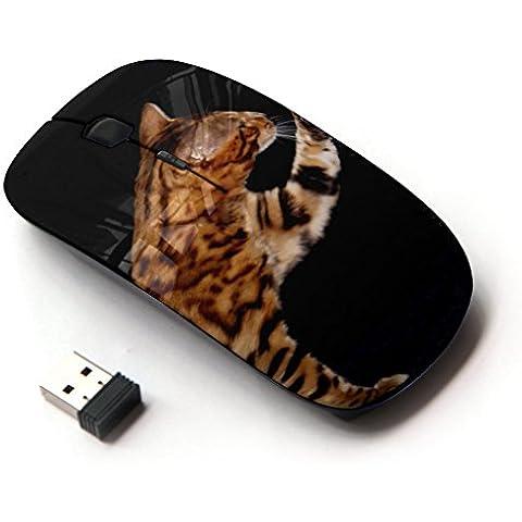 Peculiar-Star ( Ocicat Serengeti Bengal Savannah Cat ) Impreso colorido ultrafino sin hilos óptico del ratón de 2,4 GHz-Negro