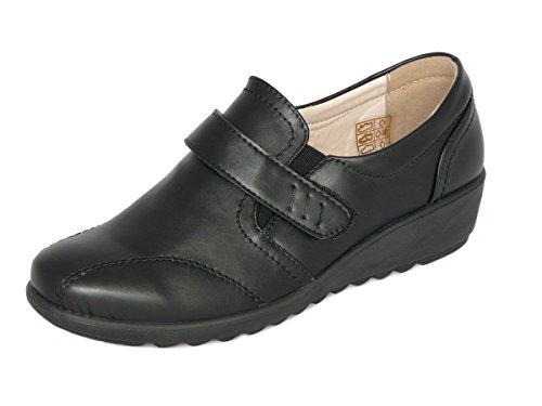 Cushion Walk Chaussures à Scratch Femmes, Mocassins Semelle Intérieure en Cuir (EU 39.5 UK 6, Noir)