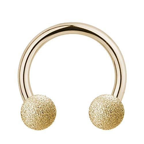 Piercing Hufeisen - Stahl - Diamant - Gold - [06.] - 1.2 x 10 mm (Kugeln: 4mm)