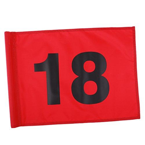 Baoblaze Golf Flage Golffahne Golfspiel Zubehör - Rot mit der Nummer 18, 51x36cm
