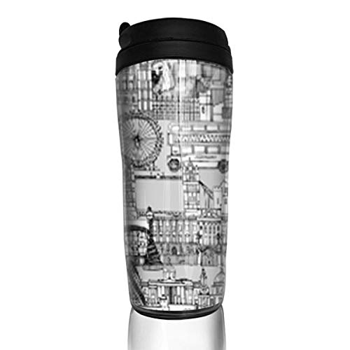 Travel Coffee Mug London Toile Black White 12 Oz Spill Proof Flip Lid Water Bottle Environmental Protection Material ABS