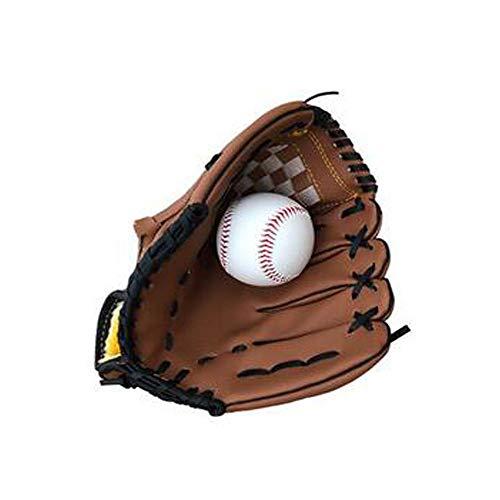 Aishanghuayi Baseballhandschuhe, Leder gepolsterte Baseballhandschuhe Kind Junior Erwachsener Catcher Pitcher Baseball Set, Softballhandschuhe, Braun (Color : Brown, Size : 10.5 inch) -