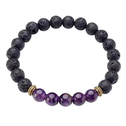 JSDDE Lava Armband, Zen-Buddhismus Armreif Lava Stein Yoga-Armband 7 Chakra Healing Energietherapie Balance Buddha-Armband (Amethyst)