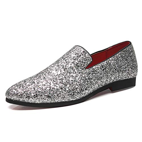 YAN Herren Schuhe Pailletten, Mikrofaser Kleid Schuhe Mode Spitz Schuhe Nachtclub Freizeitschuhe für Hochzeit & Abend Gold Silber Schwarz (Farbe : Silber, Größe : 43)