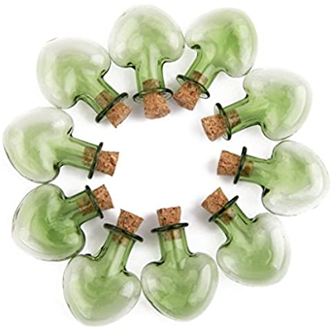 Barattoli in vetro Mini bottiglie con tappo in sughero, Wish Note, confezione da 10