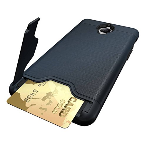 YHUISEN Neue Dual Layer Brushed Matte PC Armor + Robustes TPU Doppelter Schutz Slim Case Cover Folding Ständer Card Slot für OnePlus 3 ( Color : Rose Gold , Size : OnePlus 3 ) Dark Blue