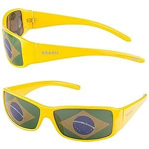 Taffstyle® Fanartikel Sonnenbrille Fan Brille zur Fussball Weltmeisterschaft WM & EM Europameisterschaft 2016 Länder Flagge Style – Brasilien