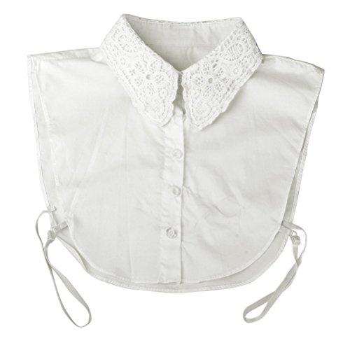 Preisvergleich Produktbild PIXNOR Frauen Floral Dekolleté abnehmbare Kragen halbe Shirt Bluse (weiß)