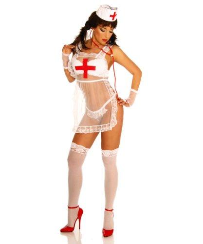 Beautys Love Krankenschwester-Kostüm Damen weiß/rot XS-L Weiß/Rot