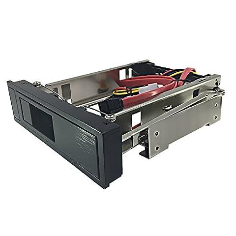 Rack Amovible Disque Dur Interne - GLOTRENDS H35C Rack amovible avec câble sata sans tiroir de 5,25 pouces pour disque dur SATA de 3,5 pouces, Rack mobile échange à chaud / Hot Swap, sans outil, échange à chaud, acier inoxydable