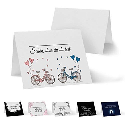 Partycards 50 Tischkarten/Platzkarten DIN A7 für Hochzeit, Geburtstag, Kommunion, Taufe (DIN A7, Fahrrad) - Hochzeit Fahrrad