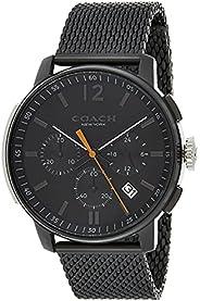 Coach Mens Quartz Wrist Watch, Ionic Plated Black Steel- 14602344