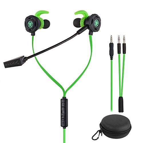 Samoleus In Ears Kopfhörer mit Verstellbarem Mic, 3.5MM Wired Earbuds Gaming Earphones Ohrhörer mit 3 Pairs Different Sizes Earbuds für PS4, Xbox, PC, Laptop, Mobile Phone (Grün - In Ear)