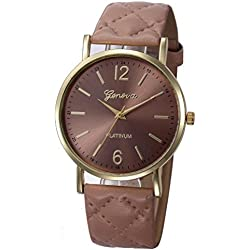 WINWINTOM Roman Leather Band Analog Quartz Wrist Watch Khaki