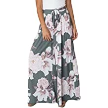 CICIYONER Mujeres Sexy Cintura Alta Estampado de Flores Floral Pantalones  de Pierna Ancha 6afec0cd679d