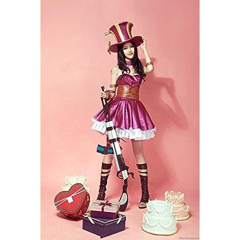 Vivian QJYB League of Legends Caitlyn Purple Cosplay Disfraz,Tamaño S:150-160 cm