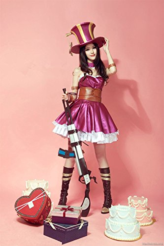 Kostüme Caitlyn (Vivian QJYB League of Legends Caitlyn Purple Cosplay Kostüm (kann angepasst werden),Größe S:(150-160)