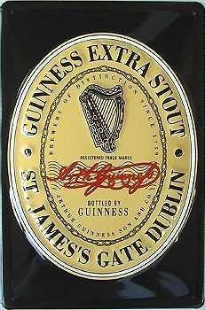 Guinness Label (Guinness Black Label Blechschild, 20 x 30 cm)