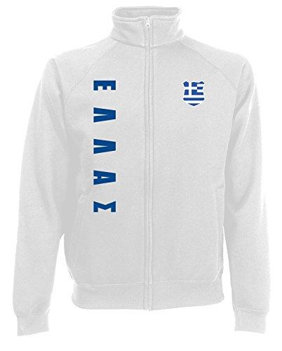 Griechenland Hellas Sweatjacke Jacke Trikot Wunschname Wunschnummer (Weiß, S)