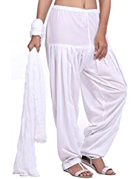 Jaipur Kurti Pure Cotton Patiala Salwar And Dupatta Set (White)