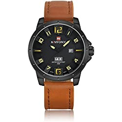 NAVIFORCE Genuine Leather Strap Men Luxury Auto Day Analogue Quartz Waterproof Sports Watch (Brown)