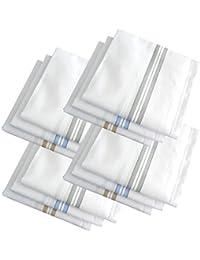 S4S Men's 100% Cotton Premium Collection Handkerchiefs - Pack of 12 (White Striped_46X46 CM)