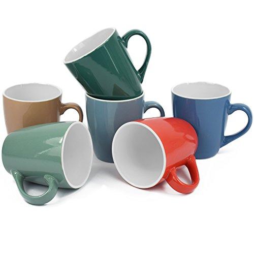 6er Set Kaffeetassen Kaffeebecher Cappuccinotassen Espressotassen Teetassen Keramik Mug Tassen Becher bunt unifarben 150ml