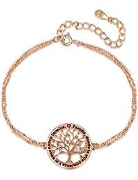 8445a39086ef LOVORDS Collar Mujer Grabado Plata de Ley 925 Colgante Árbol de la Vida  Familiar Círculo Regalo
