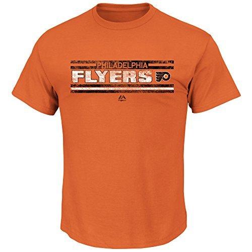 Philadelphia Flyers NHL Herren Vintage Stanley-Cup-Geschichte Banner T-Shirt, Mädchen Jungen Kinder damen Herren, Orange - Meisterschaft Vintage-t-shirt