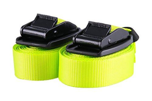 2 Stück Hochwertige Spanngurte mit Schnallenschutz neon gelb Gummi Spannband Zurrgurt Befestigungsgurt Riemen, belastbar bis 540 kg, nach DIN EN 12195-2, Länge 4m Breite 25mm