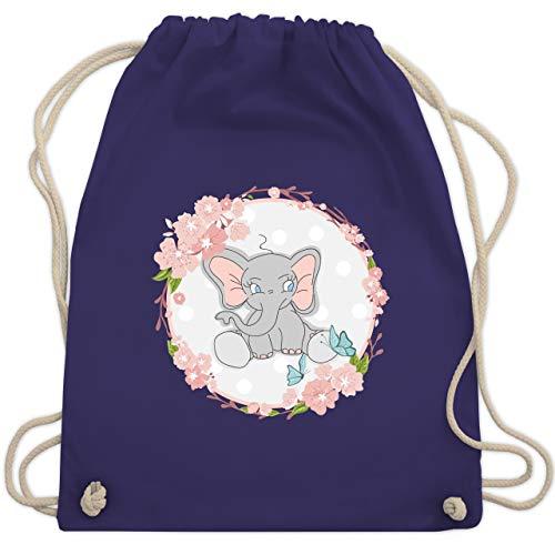 Tiermotive Kind - Elefant mit Blumenkranz - Unisize - Lila - WM110 - Turnbeutel & Gym Bag