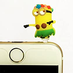 ArtzFolio Dancing Minion : Universal 3.5 mm Anti Dust Earphone Headphone Audio Jack Plug for all brands of mobile phones, tablets, laptops, iPads & iPods : BEST DESIGNER Stylish & Cute Accessories